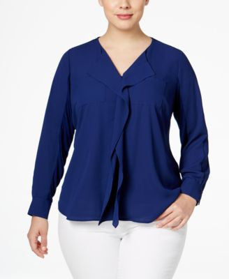 INC International Concepts Plus Size Ruffled Blouse, Only at Vogily