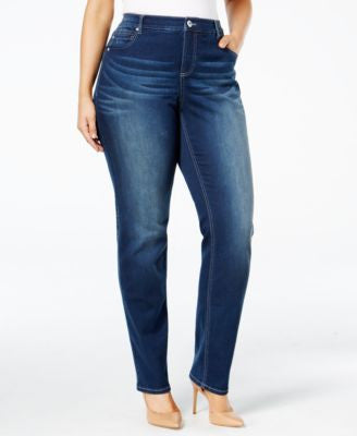 INC International Concepts Plus Size Slim-Tech Rose Wash Skinny Jeans, Only at Vogily