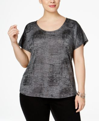 INC International Concepts Plus Size Studded Metallic T-Shirt, Only at Vogily