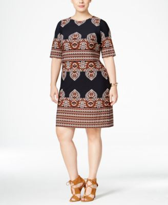 INC International Concepts Plus Size Printed Shift Dress, Only at Vogily