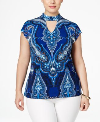 INC International Concepts Plus Size Printed Keyhole Top, Only at Vogily