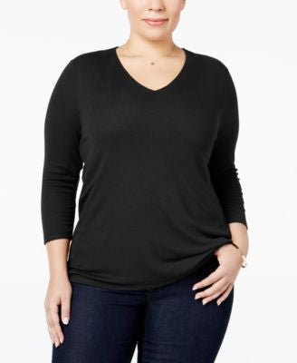 INC International Concepts Plus Size Rib-Knit Top, Only at Vogily