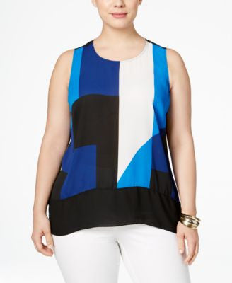 INC International Concepts Plus Size Colorblocked High-Low Top, Only at Vogily