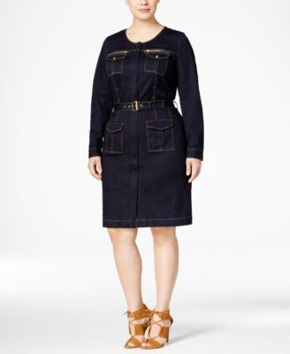 INC International Concepts Plus Size Belted Denim Utility Shirtdress, Only at Vogily