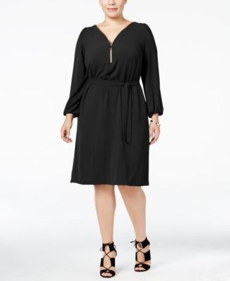 INC International Concepts Plus Size Zip-Neck Belted Dress, Only at Vogily