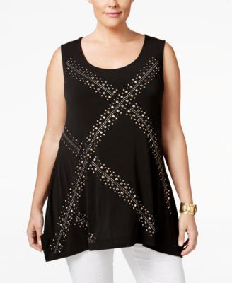 Belldini Plus Size Studded Sleeveless Top