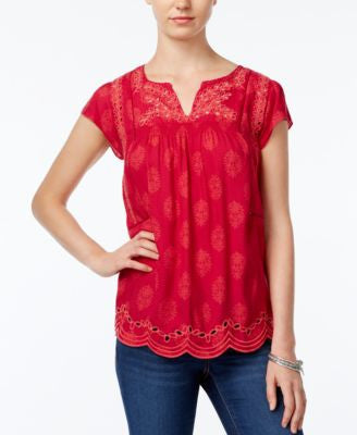 Lucky Brand Printed Embroidered Eyelet Top