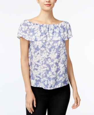 kensie Floral-Print Off-The-Shoulder Flounce Top