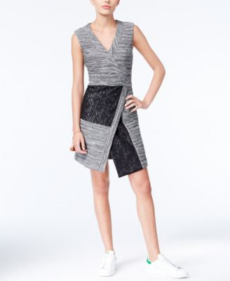 RACHEL Rachel Roy Mixed-Media Faux-Wrap Dress