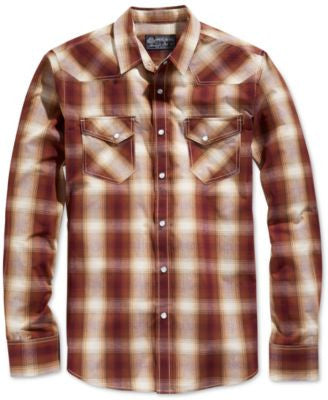 American Rag Men's Canoe Plaid Long-Sleeve Shirt, Only at Vogily