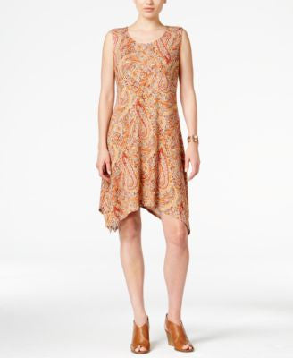Style & Co. Paisley-Print Crochet-Back Shift Dress, Only at Vogily