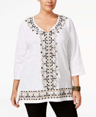 JM Collection Plus Size Embroidered Tunic, Only at Vogily
