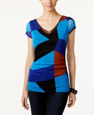 INC International Concepts Colorblocked V-Neck Top, Only at Vogily