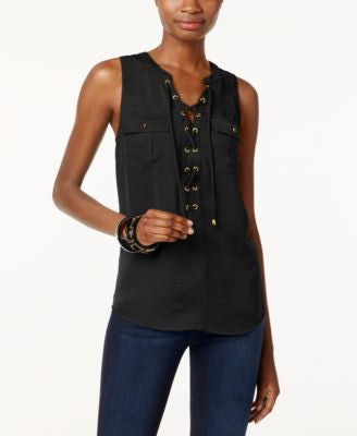 INC International Concepts Sleeveless Lace-Up Top, Only at Vogily