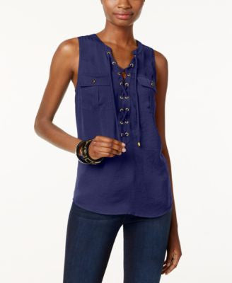 INC International Concepts Petite Lace-Up Top, Only at Vogily
