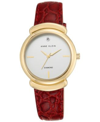 Anne Klein Women's Diamond Accent Red Leather Strap Watch 36mm AK-2358SVRD