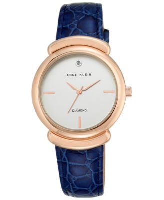 Anne Klein Women's Diamond Accent Navy Leather Strap Watch 36mm AK-2358RGNV
