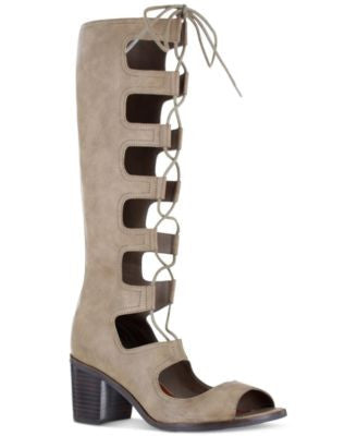Mia Elija Block-Heel Gladiator Sandals