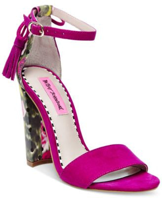 Betsey Johnson Rallo Two-Piece Block-Heel Sandals