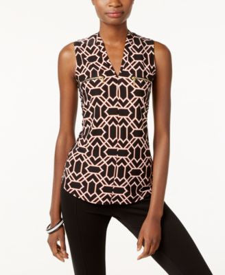 INC International Concepts Printed Zip-Pocket Top, Only at Vogily