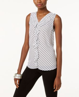 INC International Concepts Printed Ruffled Tank Top, Only at Vogily