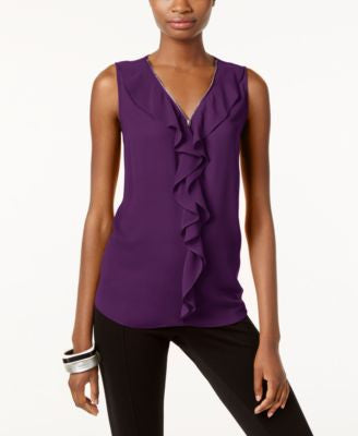 INC International Concepts Ruffled Tank Top, Only at Vogily