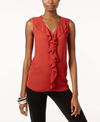 INC International Concepts Petite Ruffled Zip-Trim Top, Only at Vogily