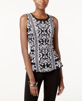 INC International Concepts Embroidered Peplum Top, Only at Vogily