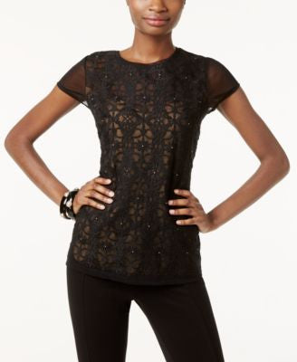 INC International Concepts Embroidered Mesh Top, Only at Vogily