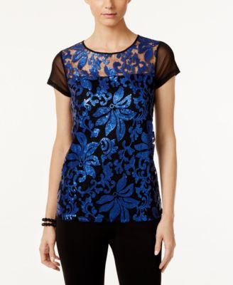 INC International Concepts Sequined Lace Top, Only at Vogily