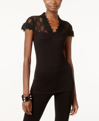 INC International Concepts Lace V-Neck Top, Only at Vogily
