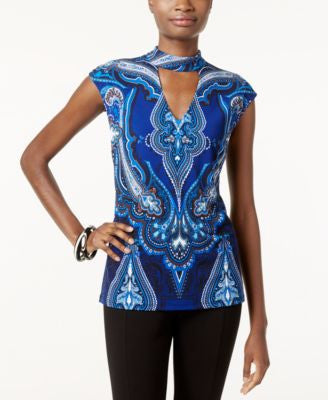 INC International Concepts Petite Printed Mock-Neck Top, Only at Vogily