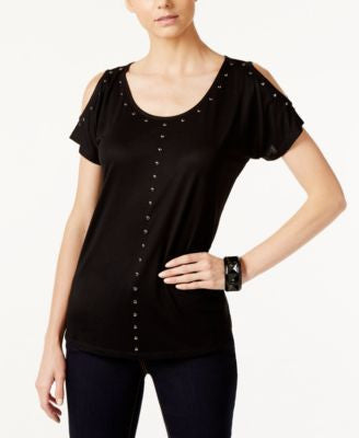 INC International Concepts Studded Cold-Shoulder Top, Only at Vogily