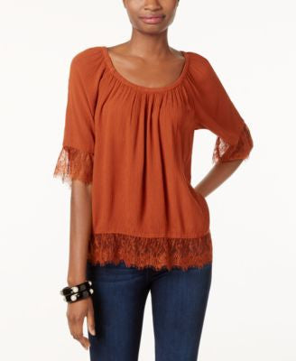 INC International Concepts Lace-Trim Peasant Top, Only at Vogily