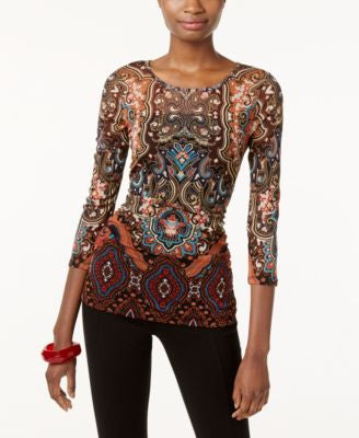 INC International Concepts Petite Printed Illusion Top, Only at Vogily