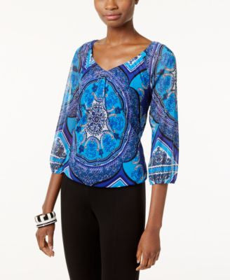 INC International Concepts Printed V-Neck Top, Only at Vogily