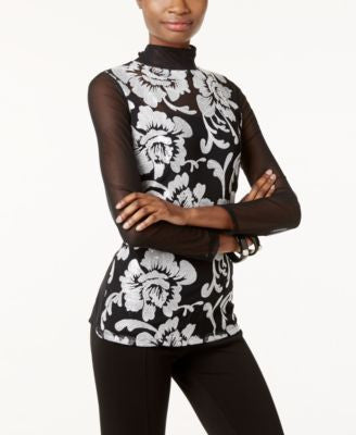 INC International Concepts Embroidered Sheer-Sleeve Top, Only at Vogily