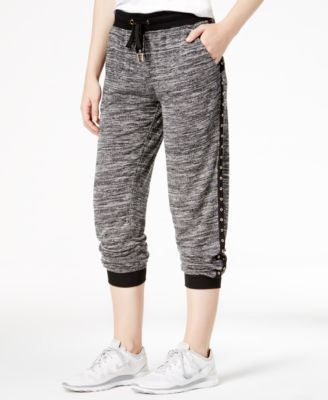 Material Girl Active Marled Grommet-Trim Jogger Pants, Only at Vogily