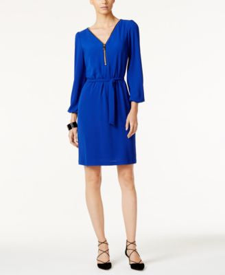 INC International Concepts Zip-Front Belted Dress, Only at Vogily
