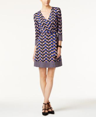 INC International Concepts Petite Printed Wrap Dress, Only at Vogily