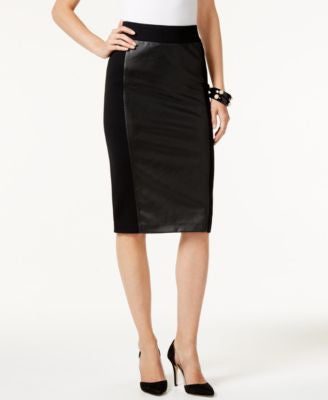 INC International Concepts Faux-Leather-Front Pencil Skirt, Only at Vogily