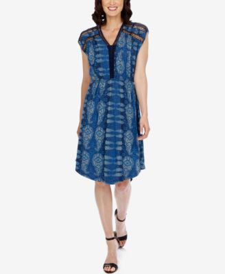 Lucky Brand Printed Fishnet A-Line Dress
