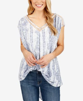 Lucky Brand Printed Lace-Trim Top