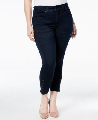 Melissa McCarthy Seven7 Trendy Plus Size Button-Cuff Cropped Skinny Jeans