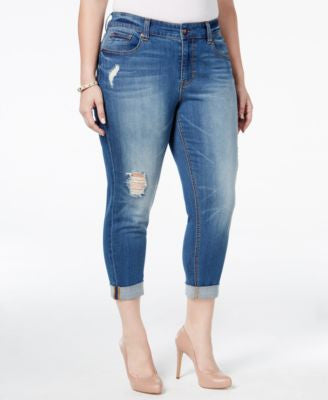 Melissa McCarthy Seven7 Trendy Plus Size Light Blue Wash Ripped Girlfriend Jeans