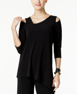 Alfani Petite Asymmetrical Cold-Shoulder Top, Only at Vogily