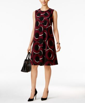 Alfani Printed Pleated Swing Dress, Only at Vogily