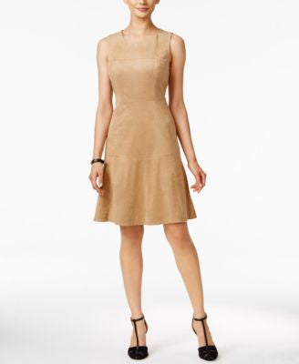 Alfani Sleeveless Faux-Suede Fit & Flare Dress, Only at Vogily