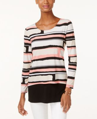 Alfani Petite Layered-Look Printed Top, Only at Vogily