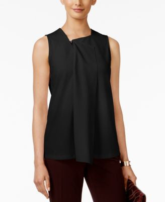Alfani Petite Zipper-Detail Drape-Front Top, Only at Vogily